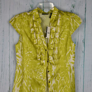 NYC Short Sleeve Top Lime Green Button Front Sz 12